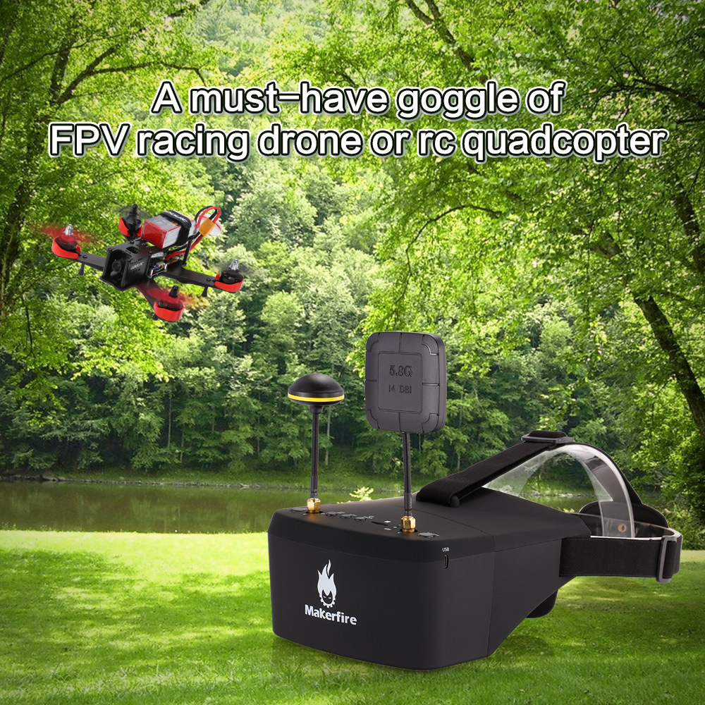EV800D 5.8G 40CH Double Antenna FPV Goggles Video Glasses with DVR for QAV 250 220 210 For RC Model Racing Drone 2