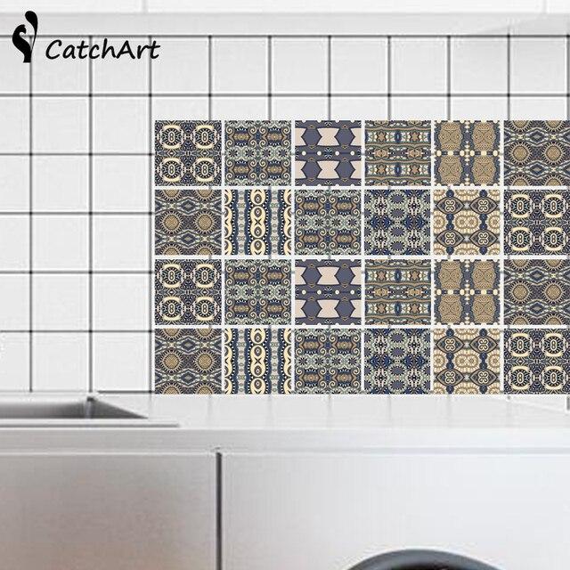 Waterproof Vintage Self Adhesive Wall Sticker Floor Anti Oil Wallpaper Color Kitchen Bathroom