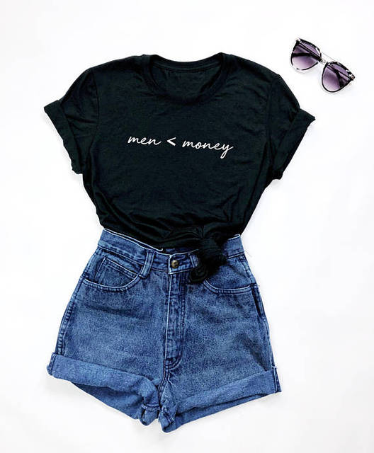 b3acdeefe2 Men   Money Graphic Tumblr Black T-Shirt Entrepreneur Feminism Shirt  Stylish Clothing Aesthetic Tops Girl Summer Trendy Outfits
