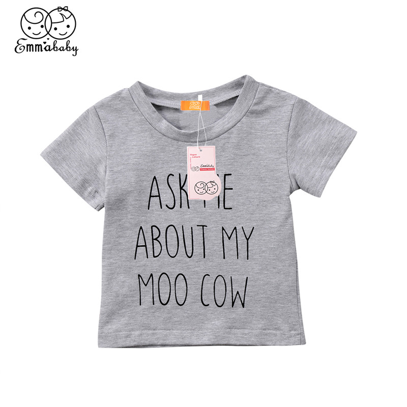 Boys T-Shirt Children's Clothes Letter-Print Half-Sleeve Casual Cartoon Summer New O-Neck