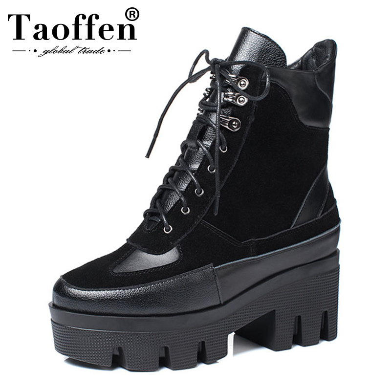 TAOFFEN Size 35-42 Brand Design Cow Suede Genuine Leather Martin Boots Women Leisure Fashion Runway Show Women Shoes Boots