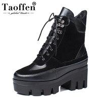 Taoffen размер 35-42 фирменный дизайн коровья замша натуральная кожа Ботинки martin женская обувь для отдыха модная подиумная женская обувь
