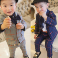 Hot Children Clothing Spring and Autumn New Style Korean Boy V Neck Full Plaid Coat Pant Fashion Suit Kids Sets Freeshipping