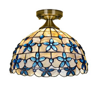 Blue Flower Ceiling Light Natural Shell Lamp Living Room Bedroom Kitchen Balcony Tiffany Ceiling Lamp