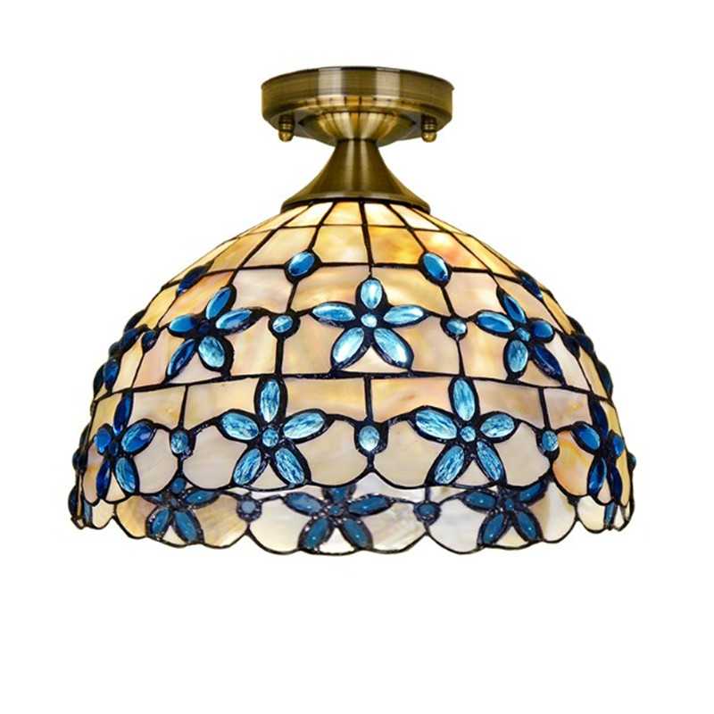 Blue Flower Ceiling Light Natural Shell Lamp Living Room Bedroom Kitchen Balcony Tiffany Ceiling Lamp tiffany mediterranean style peacock natural shell ceiling lights lustres night light led lamp floor bar home lighting