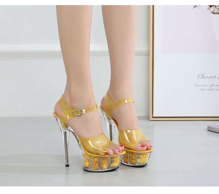 6 cor transparente cristal sandália feminino