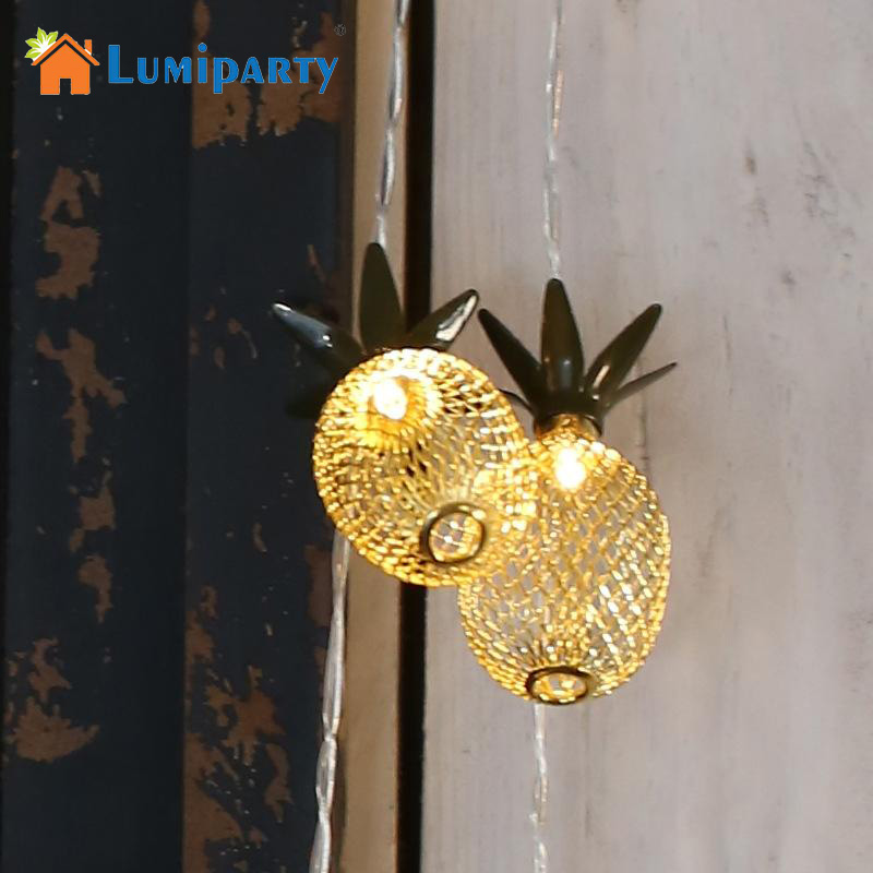 LumiParty 2M 10 LED String Lights Metal Pineapple Shaped Fairy Light For Tropical Party Wedding Decoration Night Light