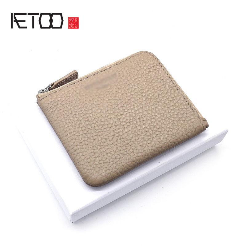 AETOO Head cowhide coin wallet Litchi grain leather short wallet women zipper Mini Card Bag