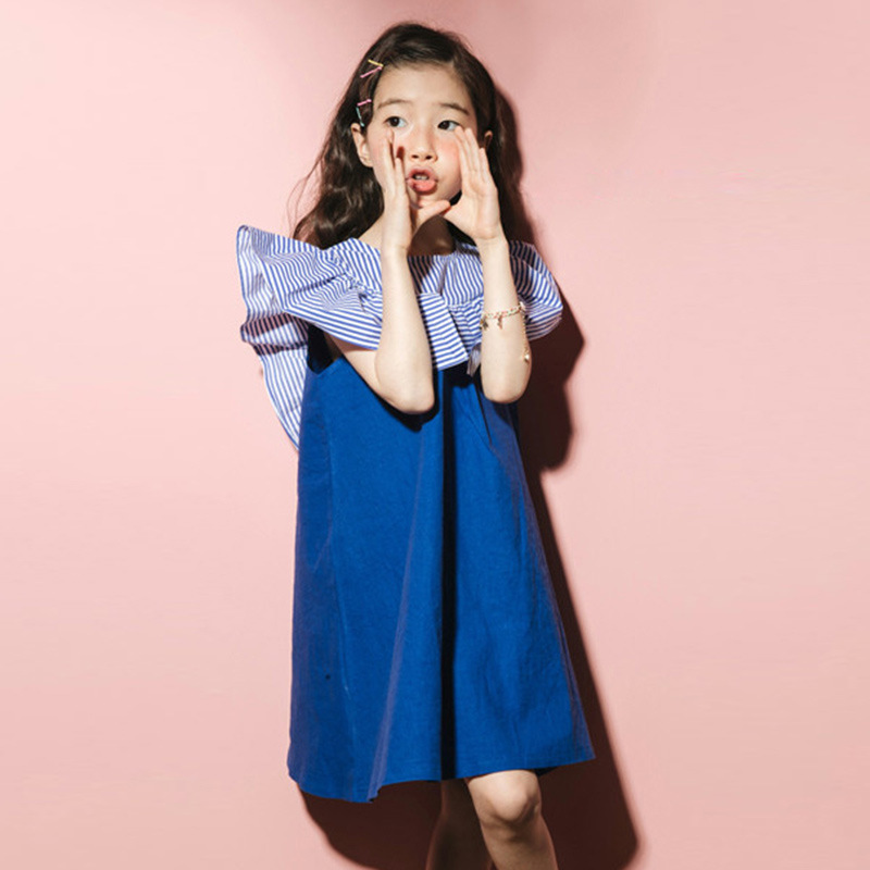 2018 fashion patchwork ruffles dress baby girls dresses for kids summer petal sleeve cotton princess dresses children clothing in Dresses from Mother Kids