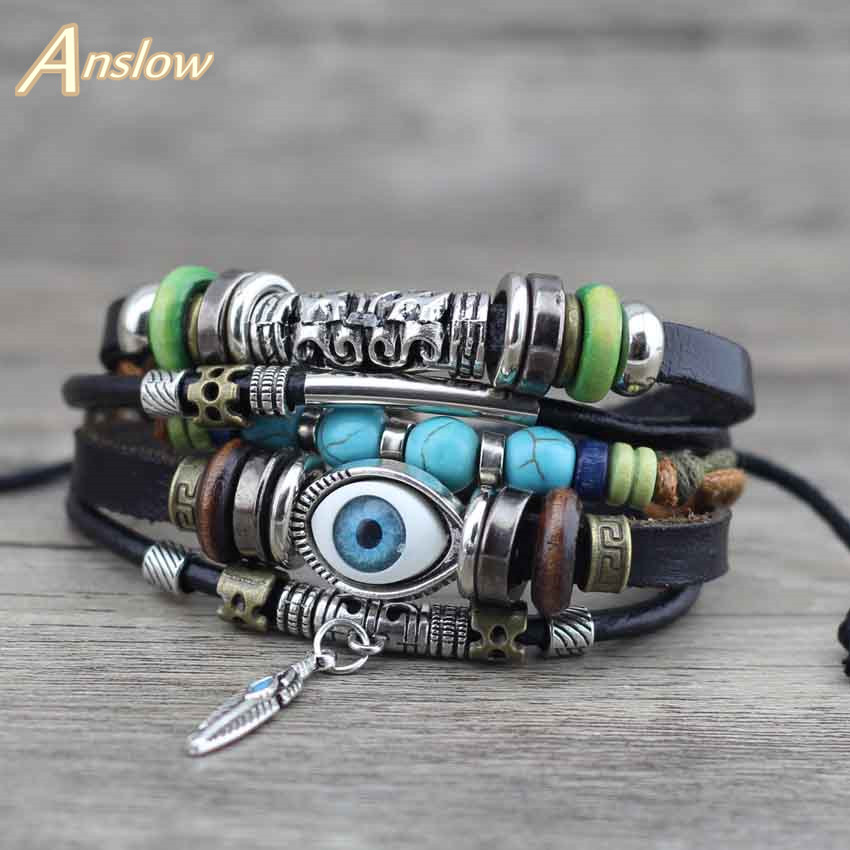 Anslow Punk Design Turkish Evil Eye Bracelets For Women Men Wristband Female Owl Leather Bracelet Ethnic Blue Stone LOW0268LB
