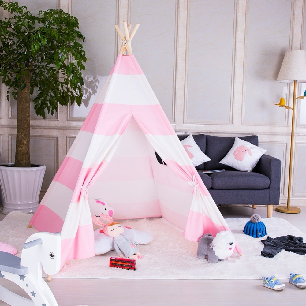 все цены на Pink Striped Cotton Canvas Teepee Kids Play Tent House Children Tipi Wigwam Indian Tent