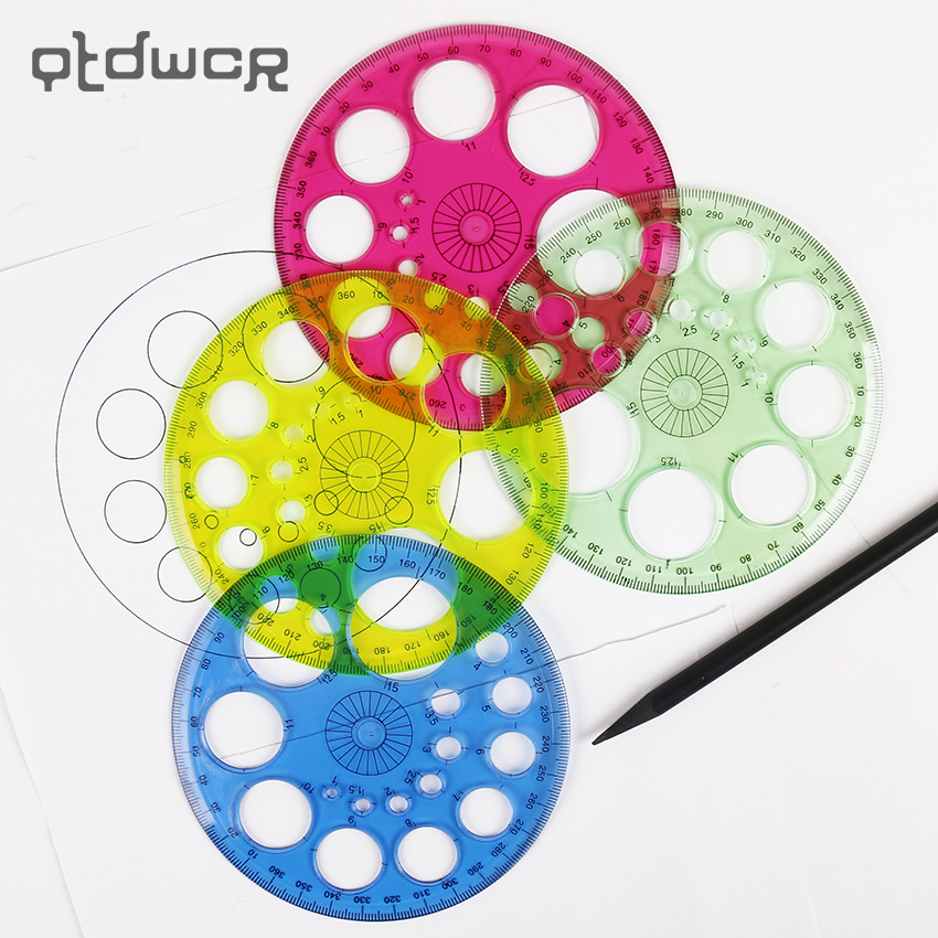 1PC New Tool 360 Degrees Ruler Round Transparent Multiple Circular Templates Drafting Supplies Rulers Office School Supplies
