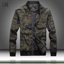Esercito Giacca Mimetica Uomini Casual Bomber Giubbotti Mens Zipper Outwear Giacca di Autunno della Molla Sottile Cappotto Uomo Più Il Formato 7XL formato