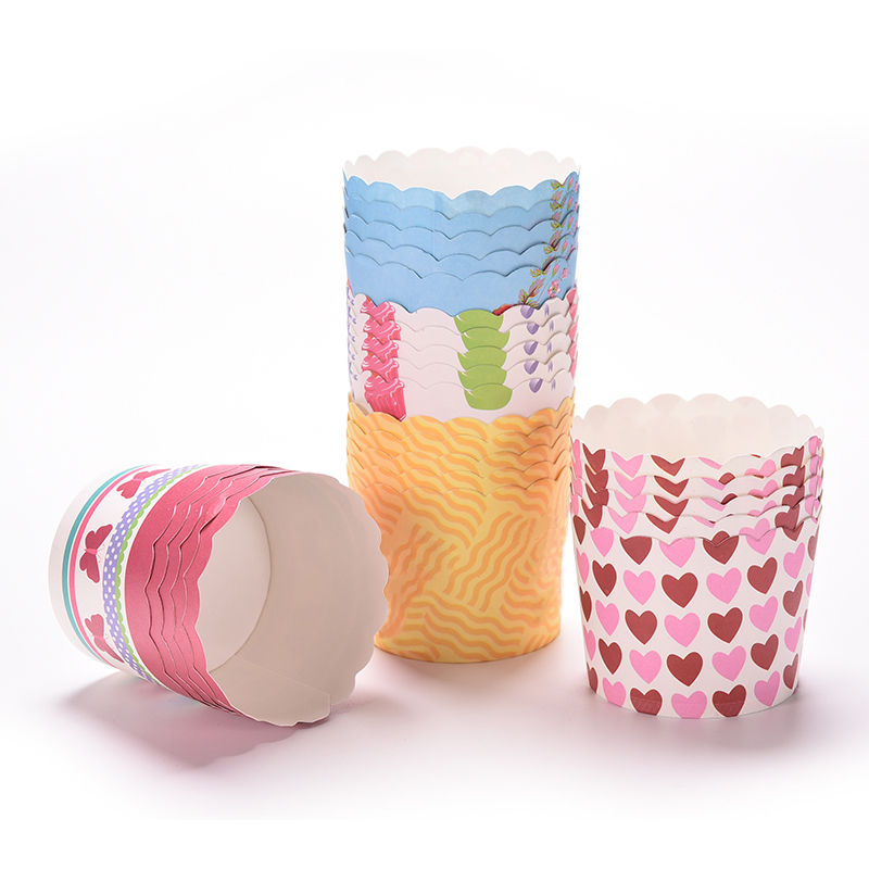 50pcs/Pack Birthday Party Decor Cake Cup Colorful Baking Paper Cupcake Muffin Cases Cake Mold Tools Wholesale