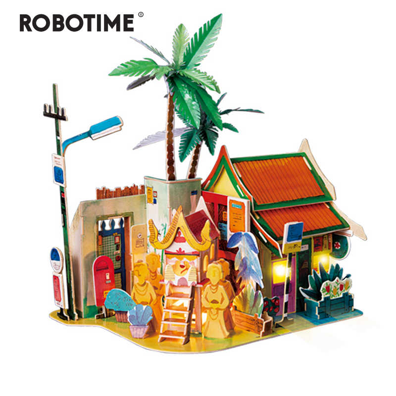 Robotime DIY Sunny Chiengmai Doll House with Led Light Children Adult Miniature Wooden Model Building Dollhouse Toy SJ407