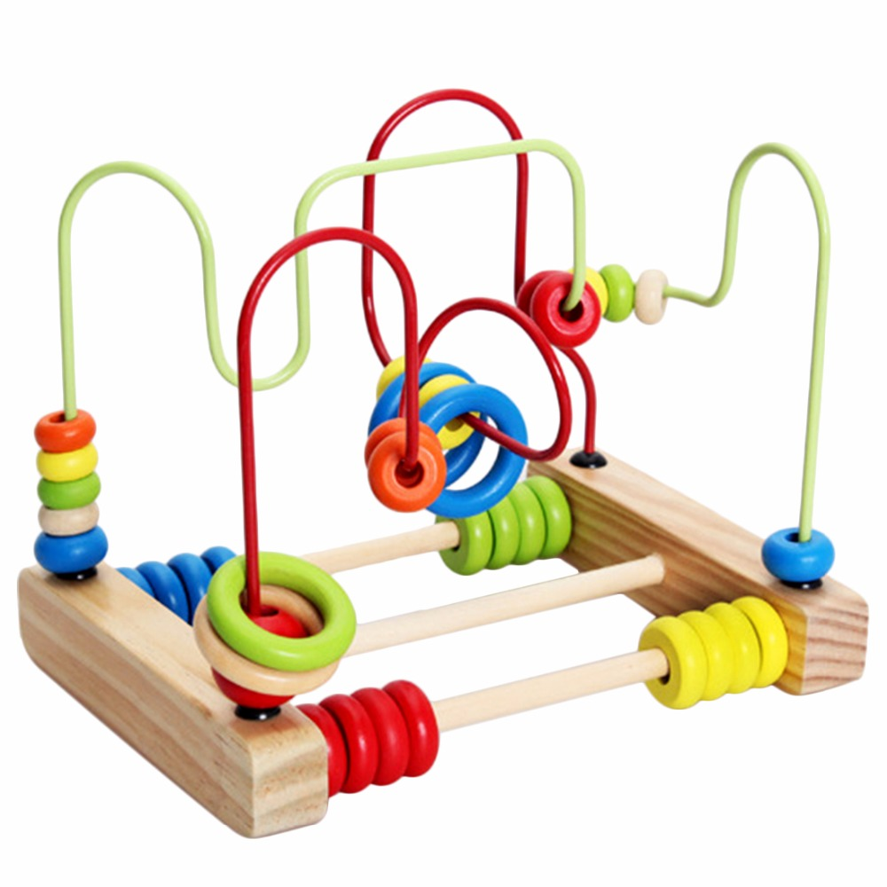 Counting Circles Bead Abacus Wire Maze Roller Coaster Wooden Montessori font b Educational b font Toy
