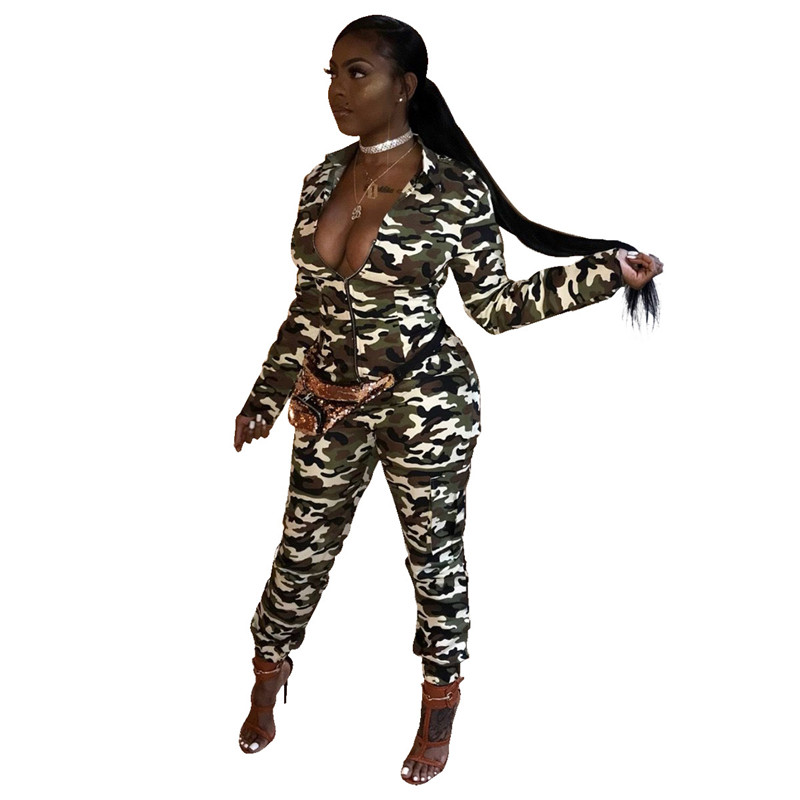 cabdca9ac9c7 Long Sleeve Camouflage Jumpsuit Women Turn Down Collar Zipper Front Army  Green Casual Camo Overalls One Piece Jumpsuit Rompers-in Jumpsuits from  Women s ...