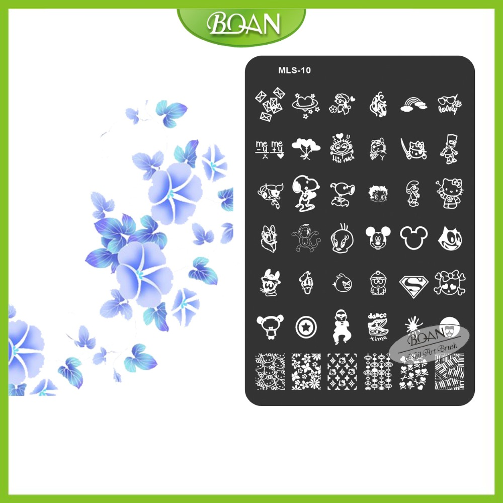 10PCs/set BQAN Stainless Steel Free Shipping Sweety Cartoon Characters Patterns Nail Plate Stamping Kit MLS10