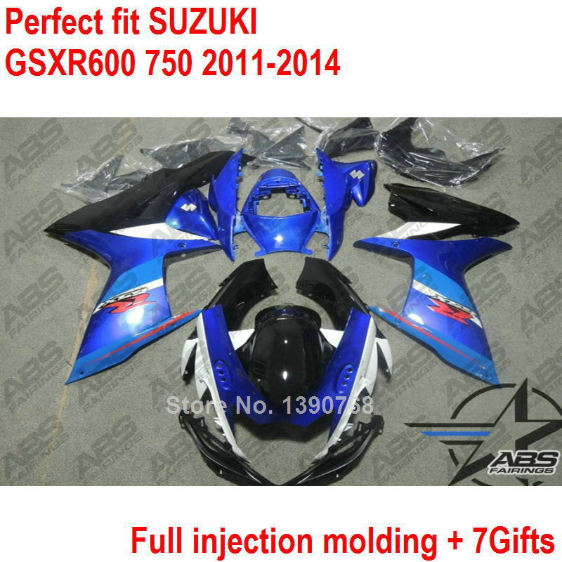 injection fairing kit for Suzuki GSXR600 GSXR750 11 12 13 14 blue black fairings set GSXR 600 750 2011 2012 2013 2014