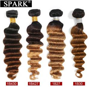 Image 5 - Spark Hair Peruvian Loose Deep Wave Human Hair Bundles With Closure Ombre Brown Color Closure With Bundles For Black Women Remy