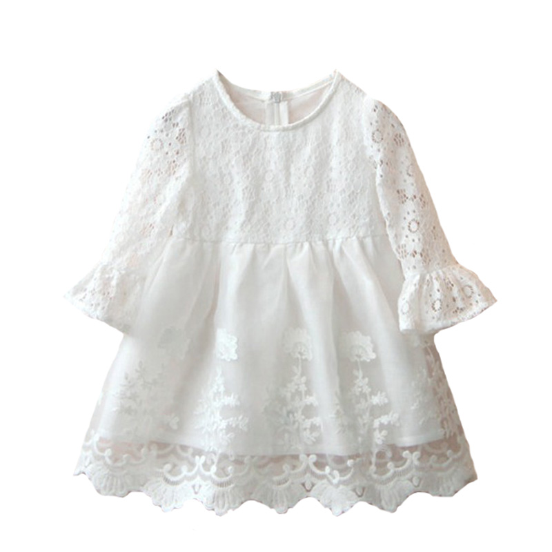 2017 New Spring Girl Baby Lace Dress Children Long Sleeve Dresses Kids White Cute Dress Princess Dress Wedding Party Clothes toddler girl dresses chinese new year lace embroidery flowers long sleeve baby girl clothes a line red dress for party spring