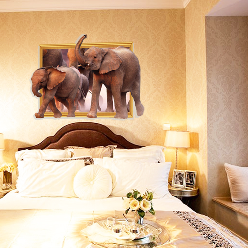 African Elephant Family 3D DIY Wall Stickers For Nursery Kids Room ...