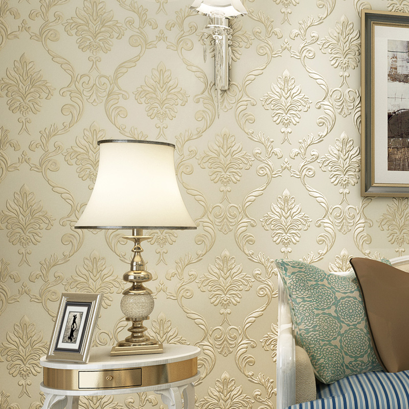 3D Embossed Non-woven Wallpaper Papel De Parede European Style Living Room Sofa TV Background Wall Damask Wallpaper Breathable blue european style 3d stereoscopic relief damask tv background wall paper flower luxury bedroom living room non woven wallpaper