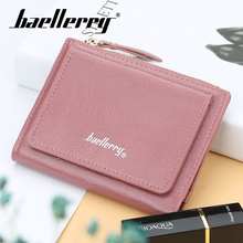 Baellerry Women Zipper n Hasp PU Short Wallet Red Black 6 Color Solid Coin Pocket Card Holder Photo Female