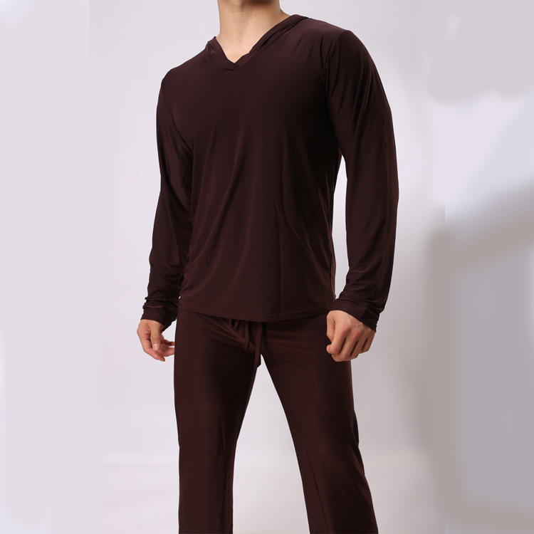 male Hooded silky tops Homewear Man Casual shirt clothing majama one set USA size