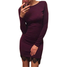 2018 Women Casual Dress Fit Ladies Elegant lace solid bodycon dress Christmas evening party long sleeve