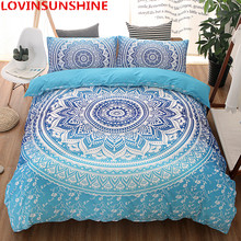 LOVINSUNSHINE 3 Piece Bohemian Bedding Set Floral Paisley Pattern Duvet Cover Set Sky Blue Mandala Bedspread 8 Size bedding set(China)