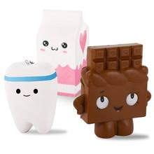 LCLL-3 Pack Kawaii Jumbo Slow Rising Squishies, Scented Squishy Chocolate Bar, Tooth, Milk Carton Toys For Kids or Stress Reli(China)