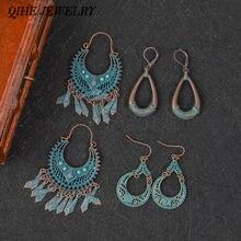 Qihe joias antigas de bronze e lustre, brinco oval com borla, brincos redondos, vintage, joias para mulheres
