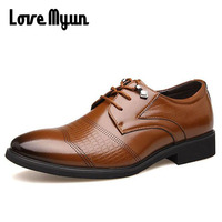 Big Size Oxfords Mens Genuine Leather Shoes Dress Shoes Wedding Shoes Business Lace Up Pointed Toe