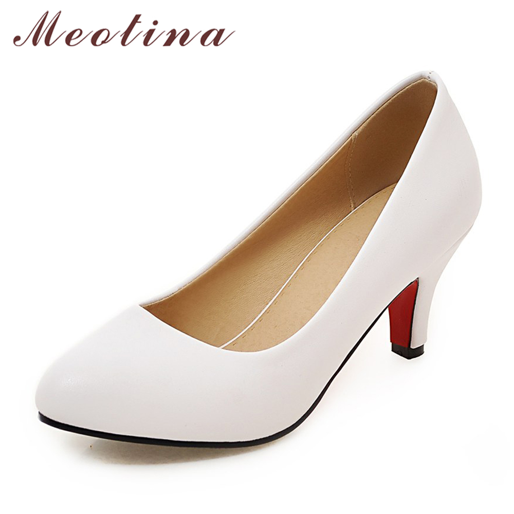 Meotina High Heel Women Shoes Pumps Plus size 33-43 Pointed Toe High Heels Slip-on Shallow Classics Dress Shoes Red White Black ksjywq plus size women red pumps slip on summer dress shoes 10 cm high heels sexy pointed toe woman stilettos box packing 1259 1