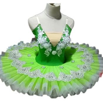 Beautiful Green Classical Ballet Dance Tutu Solo Dance, Green Flower Fairy Ballet Tutu Dress Ballerina Dance