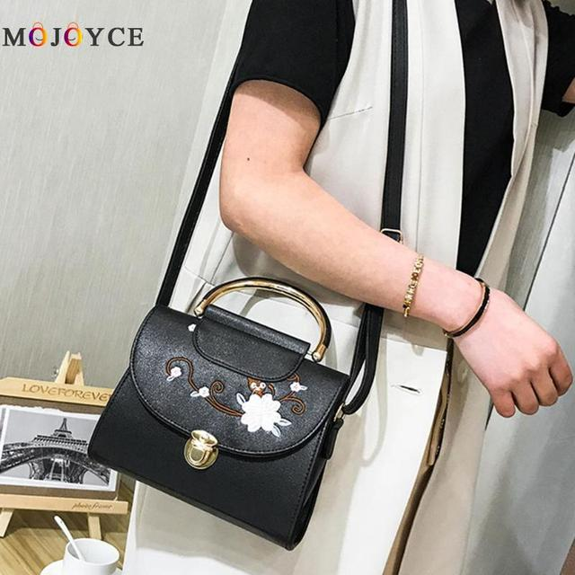 Women Flowers Embroidery PU Leather Top-Handle Bags Lady Sling Shoulder Messenger Bags Female Handbag 4