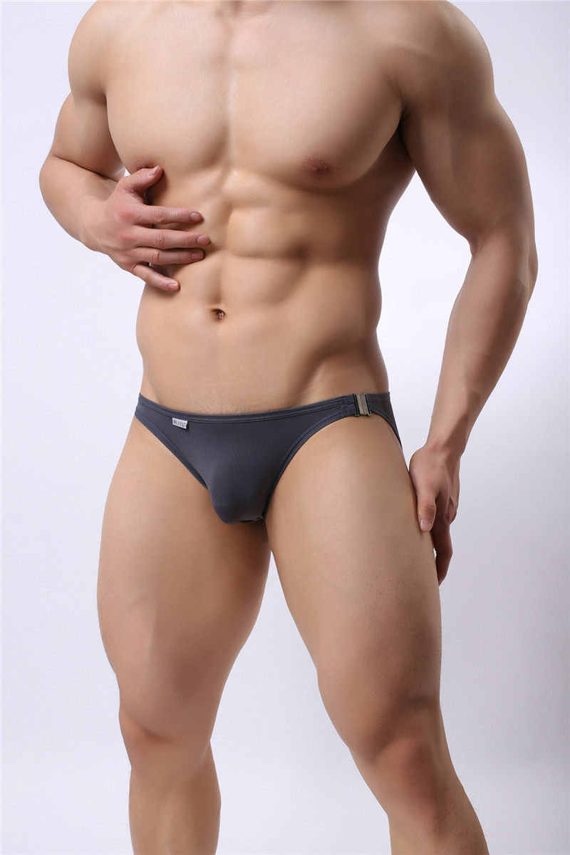 Mens Nylon Slip Small Mesh Breathable Briefs Low Rise Sexy Fashion Lock Buckle Men Bikini Underwear Briefs Brave Person 22