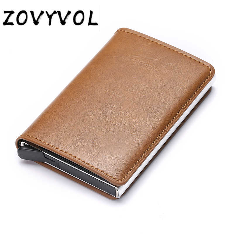 ZOVYVOL Anti Rfid Wallet Bank id Credit Card Holder Wallet Leather Passes Aluminum Business Card Case Protector Cardholder Pocke