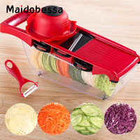 Maidobessa 6in1 Graters Vegetable Cutter Slicers Garlic Presses Potato Graters Finger Protector Fruit Tools Kitchen Accessories