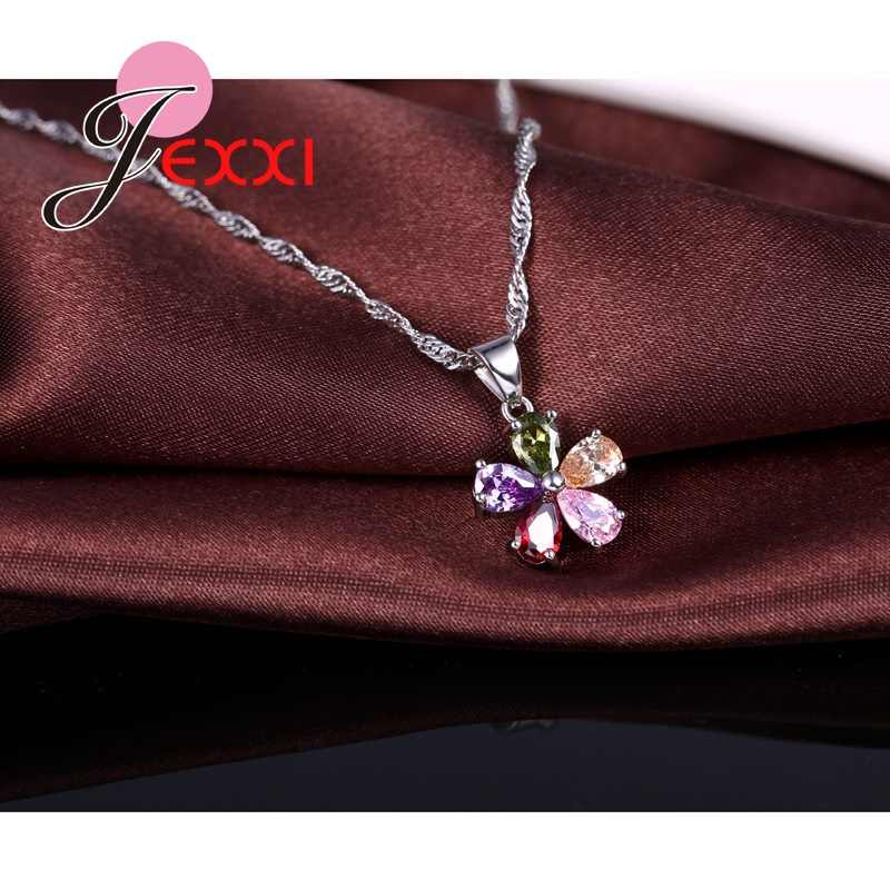 Neue Ankunft Frau Schmuck Set 925 Sterling Silber Halskette Ohrringe Blume Form Anhänger Nette Braut Hochzeit Sets