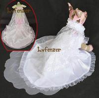 Pet Products Dog Supplies Artificial Silk White Pink Puppy Wedding Bride Dress