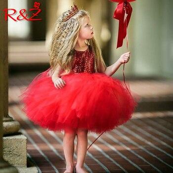 R&Z 2019 Girls Dresses Princess Kids Baby Fancy Wedding Dress Sleeveles Sequins Party Dress For Girl Summer Dresses k1