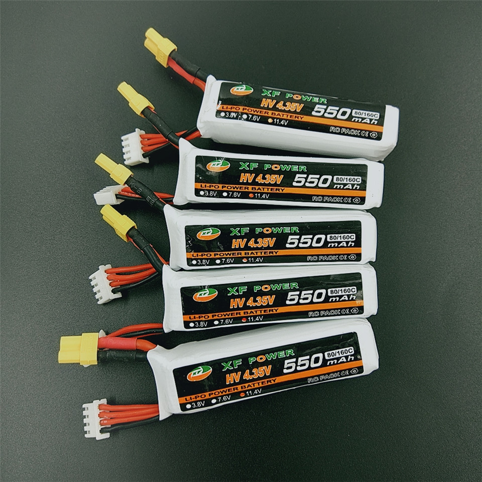 XF Power HV 4.35V <font><b>3S</b></font> 11.4V <font><b>550mAh</b></font> 80C/160C Lipo Battery XT30 Plug for URUAV FPV Racing Drone image