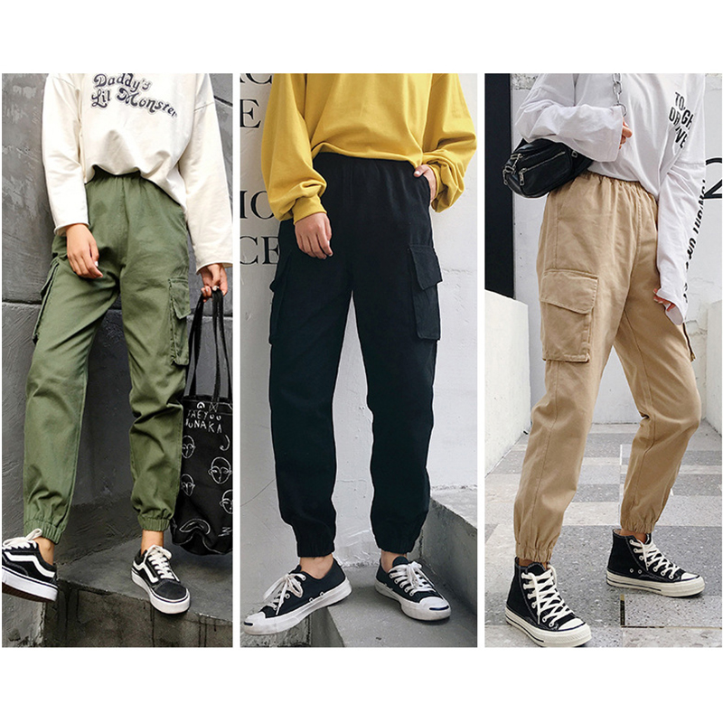 Streetwear Cargo   Pants   Women Casual Joggers Black High Waist Loose Female Trousers Korean Style Ladies   Pants     Capri   E32102