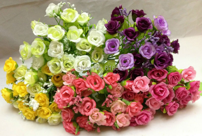 1pcs/lot Artificial Silk Mini Spring Rose Flowers Small Tea Rose Mini Daisy mini Campanula Flowers Wedding and Home Decoration