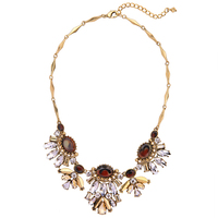 Women Collar Necklace Antique Gold Plated Crystal Brown Resin Gem Statement Bib Necklace Accessories