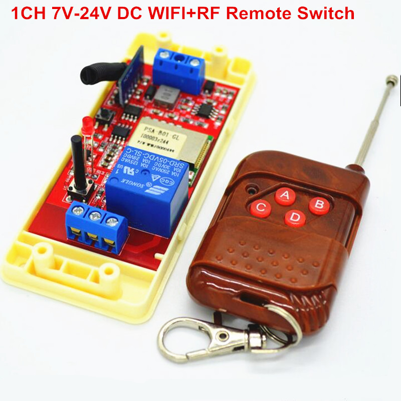 New 1CH 7V 12V 24V DC Relay Module Switch wifi,RF 433mhz Wireless Remote Control Timer Switches For Light Work by Phone dc 12v photoresistor module relay light detection sensor light control switch l057 new hot page 8