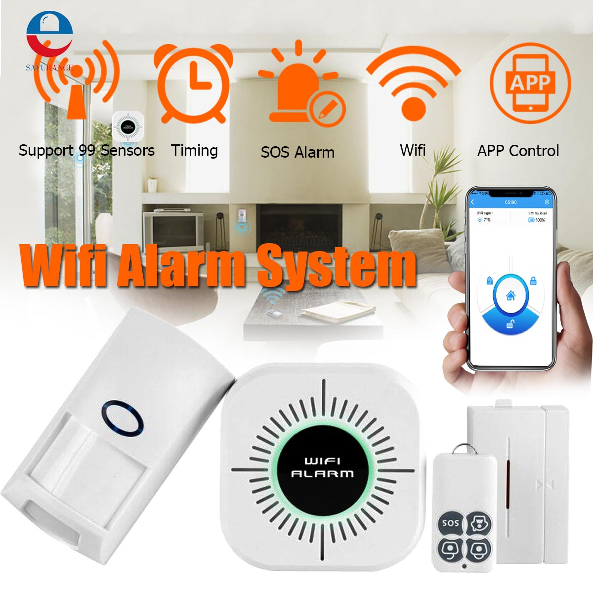 Safurance Home Security Alarm System Wifi Wireless Alarm System Phone App Remote Control PIR Door Sensor Burglar Alarm Security advanced sensor technology security safely completely led wireless autodial phone burglar home security alarm system