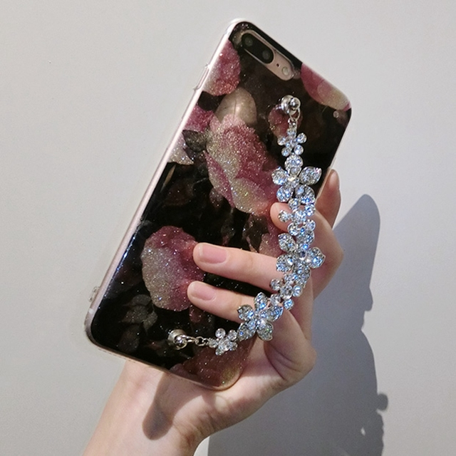 Luxury Cute Diamond Flower Rose Bracelet Cover Case For iPhone 6, 6s, 7, 8, 7/8 plus, X 1